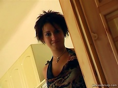 A Cute Girl With Short Hair Jerks A Guy Off And Makes Him Cum