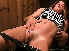 Gorgeous Amateur Toying Her Hairy Pussy With A Big Dildo